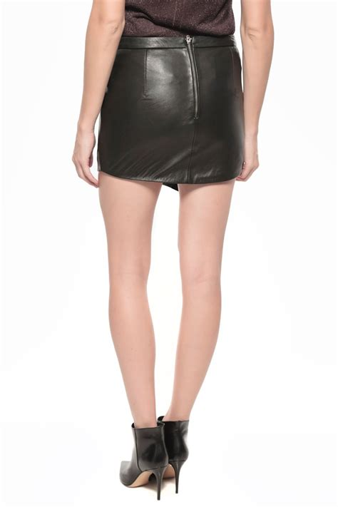 by leather mini skirt in black lyst
