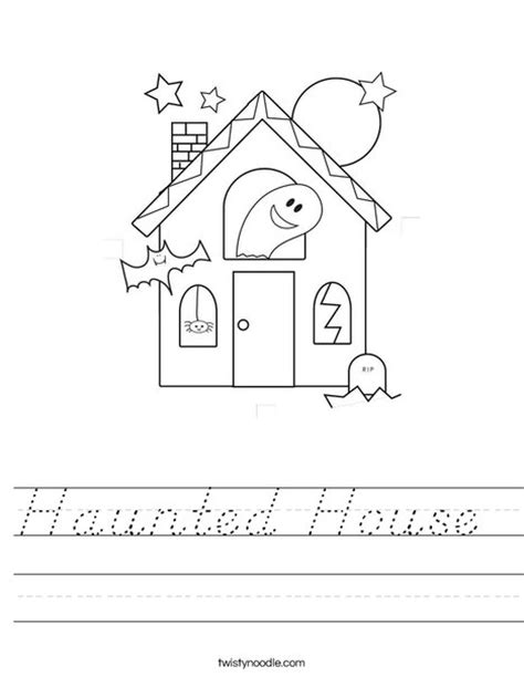 printable haunted house outline haunted house worksheet d nealian twisty noodle