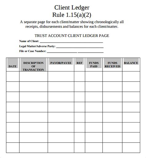 bank ledger template sle account ledger template 7 free documents