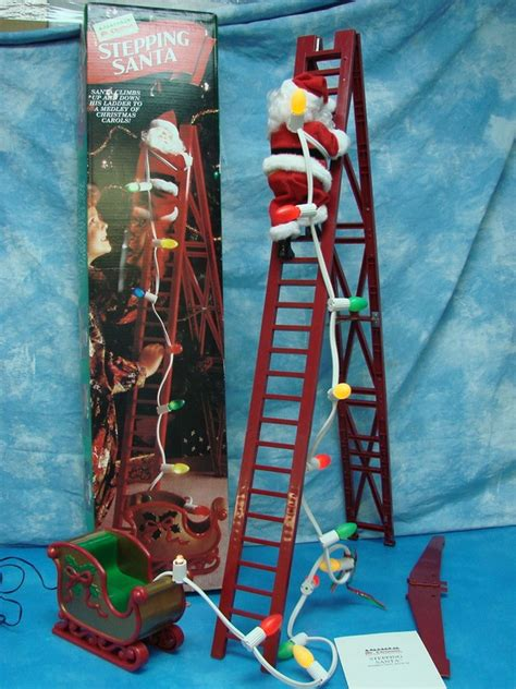 vintage mr christmas stepping santa claus factory animated
