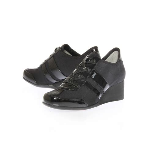 dkny shoes dkny raina lace up wedge trainer shoes in black