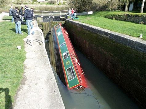 boat locks narrowboat hired by stag party capsizes after getting