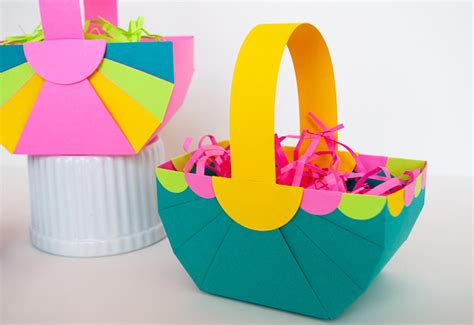 How To Make Paper Easter Baskets - easy diy paper easter basket and astrobrights paper