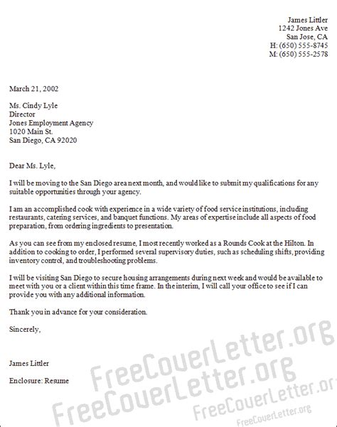 cover letter exles for chefs chef cover letter sle