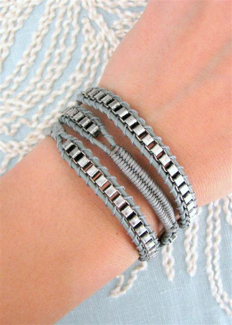 Macrame Chain - chain wrap bracelet with macrame in grey thread and a button