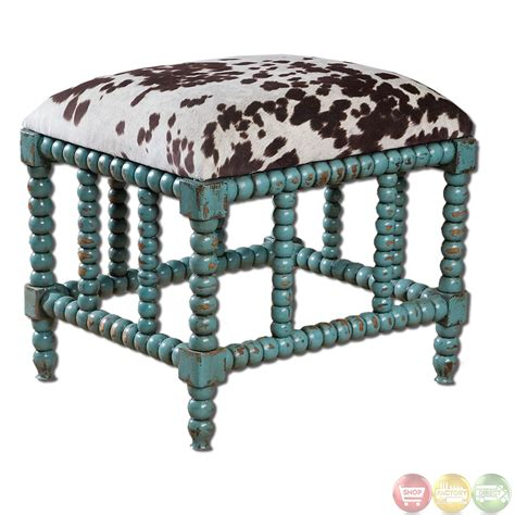 chahna turquoise cow print western style small bench