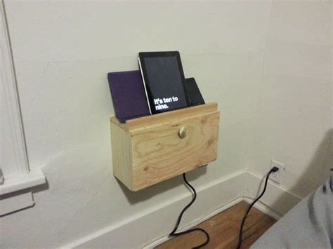 wall mounted charging station pin by instructables on woodworking pinterest
