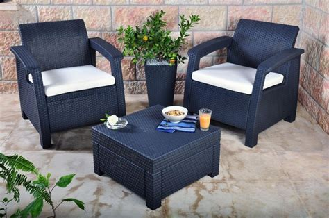 Balcony Sets Outdoor Furniture Keter Corfu 2 Seater Balcony Set Plastic Rattan Garden