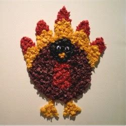 Tissue Paper Turkey Craft - thanksgiving turkey pop up card craft turkeys beak