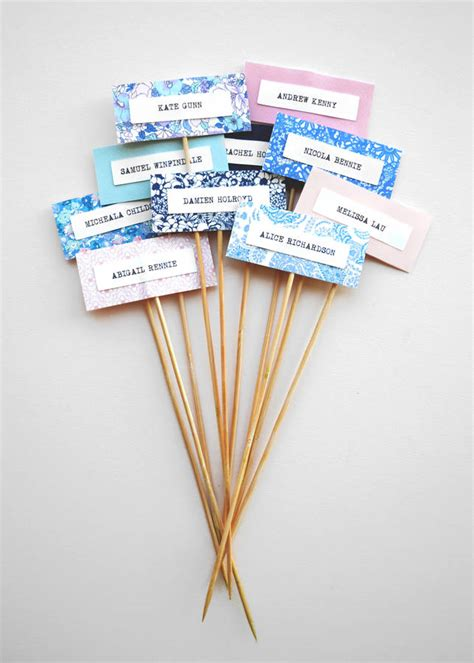 Handmade Name Cards - handmade personalised name cards on sticks