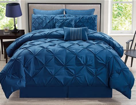 navy comforter queen 8 piece rochelle pinched pleat navy comforter set