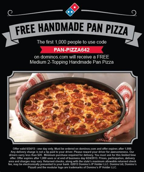 Domino Pizza Free | free pan pizza at domino s first 2 000 mojosavings com