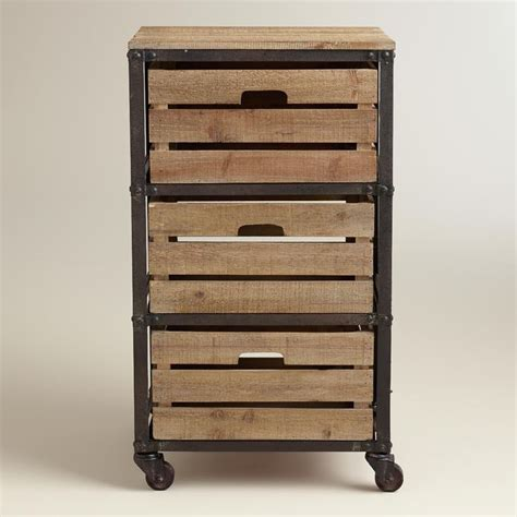 Rolling Cart With Drawers by Metal And Wood 3 Drawer Josef Rolling Cart World Market
