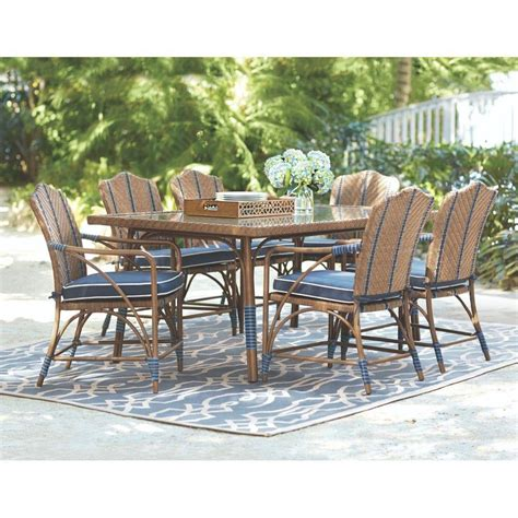 Martha Stewart Patio Dining Set Martha Stewart Living Oleander Savanna 7 Patio Dining Set With Blue Cushions 7509310310