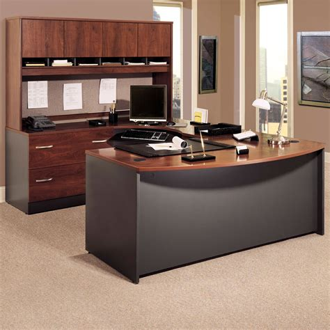Bush U Shaped Desk Bush Series C U Shaped Desk With 4 Door Hutch And Lateral File Desks At Hayneedle