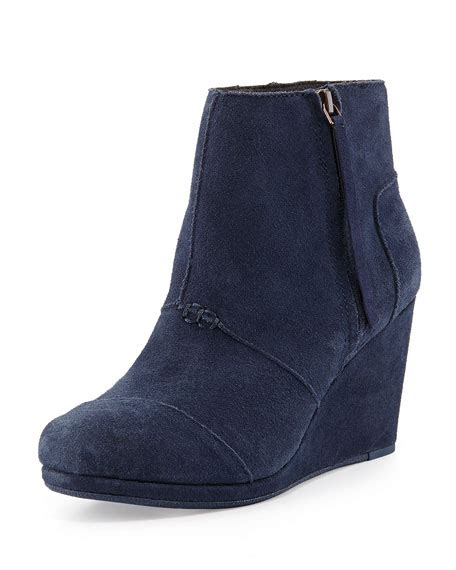 toms desert suede wedge boot navy