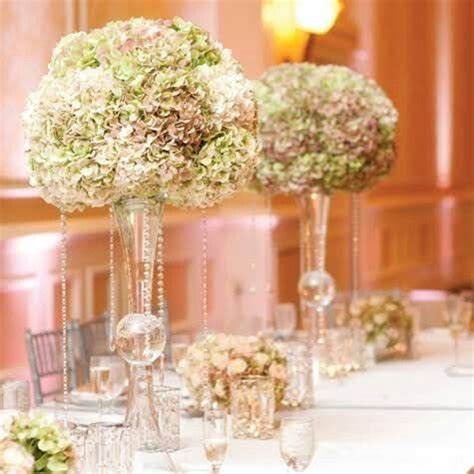 Glass Trumpet Vases Tall Glass With Hydrangeas Centerpieces Pinterest