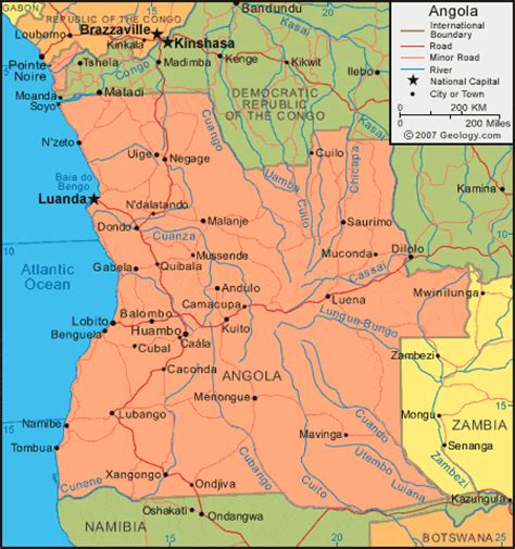 angola map angola map and satellite image