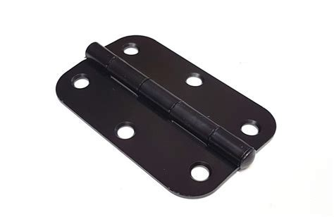 Black door hinges with rounded corners