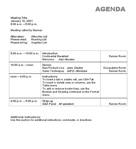 agenda wizard template microsoft word template ms