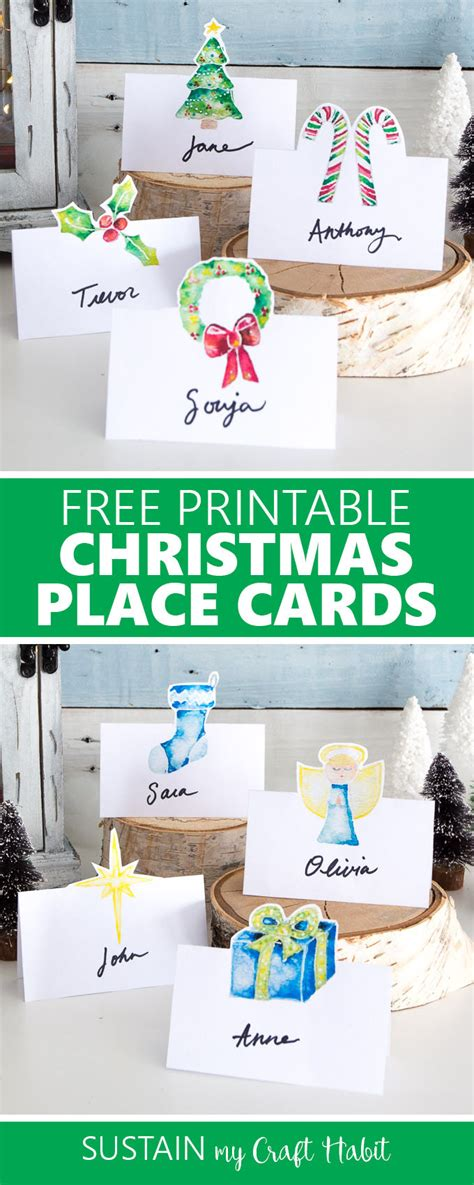 free printable christmas cards pinterest free printable christmas place cards sustain my craft habit