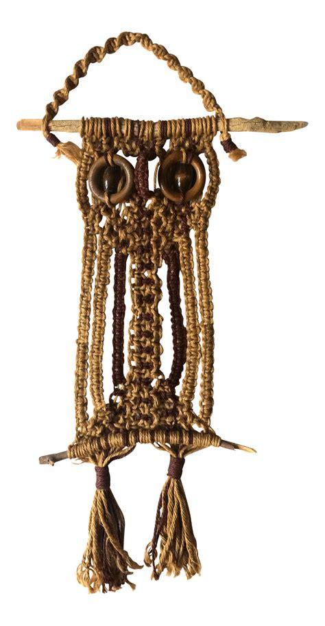 1970s Macrame - 1970s macrame owl wallhanging chairish