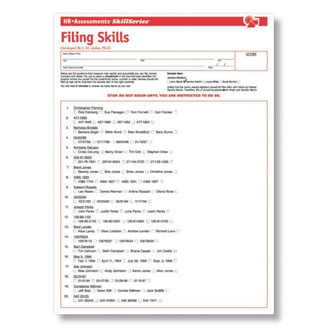 filing skills test for clerical applicants