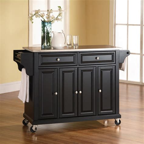 black kitchen island cart crosley furniture stainless steel top kitchen cart or