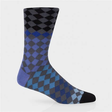 diamond pattern on socks and sweaters paul smith men s blue gradient diamond pattern socks in