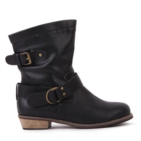 buckle motorcycle boots buy flat heel vintage buckle ankle motorcycle boots