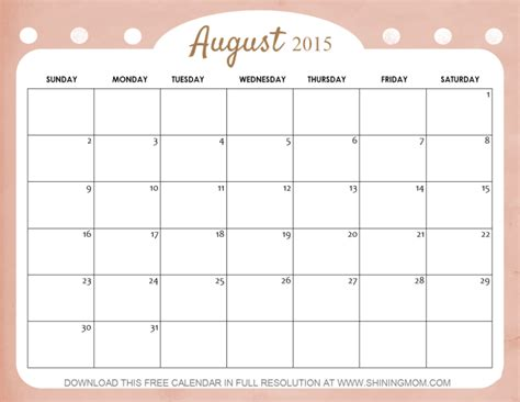 printable weekly planner august 2015 10 lovely calendars for august 2015