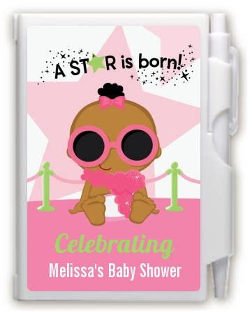 A Is Born Baby Shower by A Is Born White Pink Notebook Favor Baby
