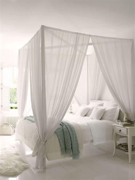 White Bed Canopy Blue And White White Bedroom With A Touch Of Blue