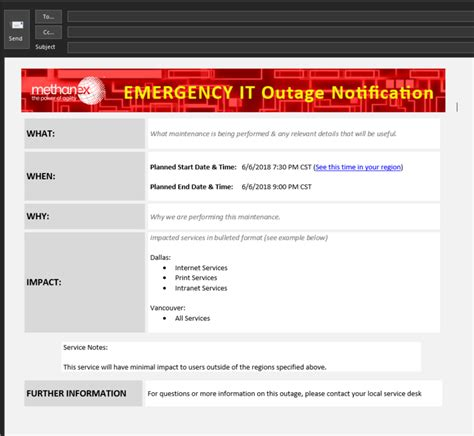 Planned Outage Template Outage Email Template