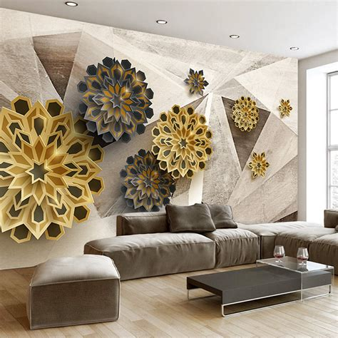 custom photo wallpaper 3d stereoscopic retro geometric pattern abstract flowers modern wall