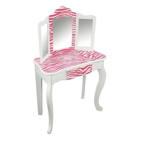 Zebra Vanity by Teamson Zebra Vanity Table And Stool Set In White And