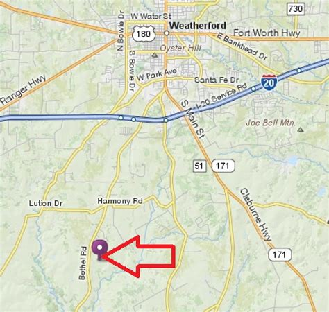 weatherford texas map local map 16 ac facility 3787 bethel rd weatherford tx coalson real estate