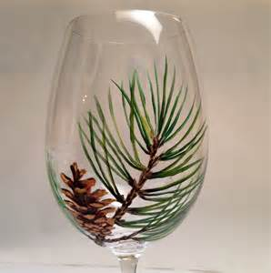 Set of 2 pine cone wine glasses pinecone wine by bloominstemware