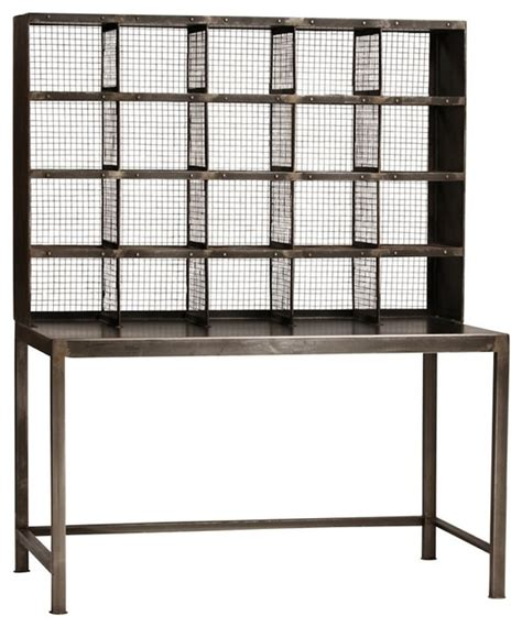 Industrial Metal And Mesh Desk With Gallery Industrial Metal Computer Desk With Hutch