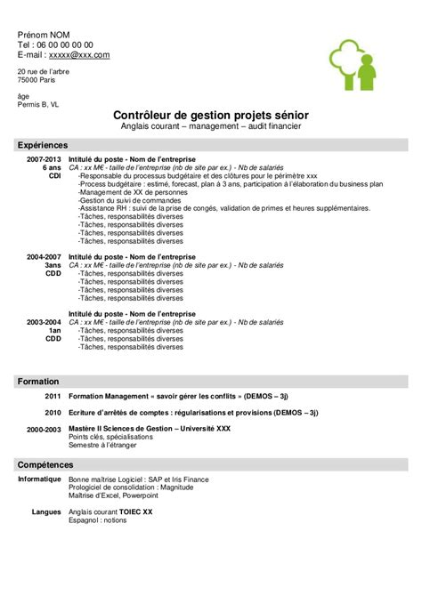 Cv Exle Francais by Exemple De Cv Controleur De Gestion Senior