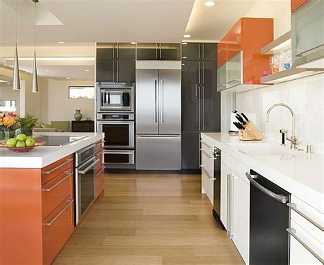 orange and white kitchen ideas slick and modern multi colored cabinets in orange white