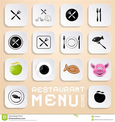 restaurant layout icons vector restaurant menu icons stock vector image 40898584