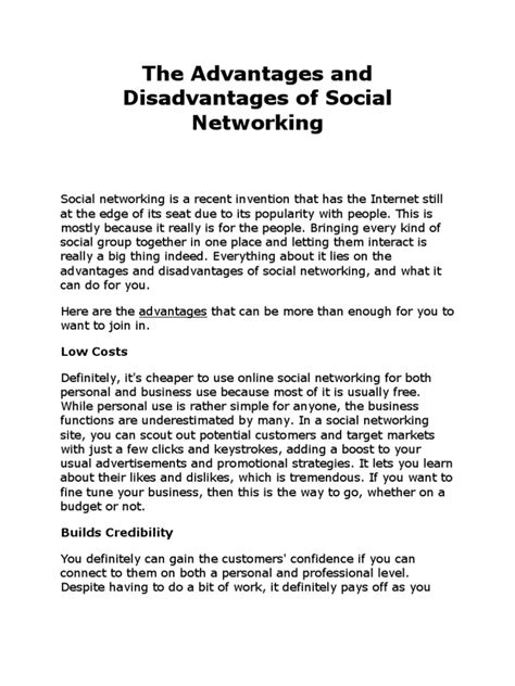 Advantages And Disadvantages Of Social Networks Essay by The Advantages And Disadvantages Of Social Networking Social Networking Service Social Media