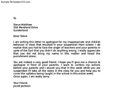 Apology Letter Template To Friend Apology Letter To Friend After Bad Behaviour Sle Templates