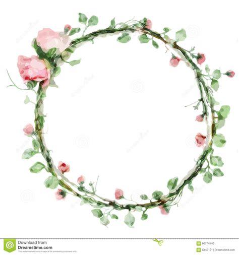 Bunga Morning Blue Wildflower dirigez le cadre rond d aquarelle avec des roses et des