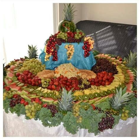 wedding fruit table and dustin