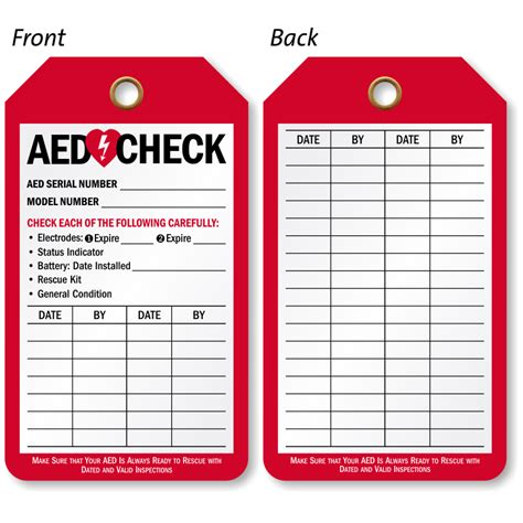 extinguisher inspection tag template aed inspection tags for automatic external defibrillator