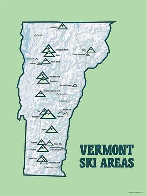 vermont ski resorts map vermont ski resorts map 18x24 poster by bestmapsever on etsy