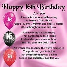 Happy 16th Birthday Wishes Sweet 16 Quotes For Niece Personalised Coaster Niece