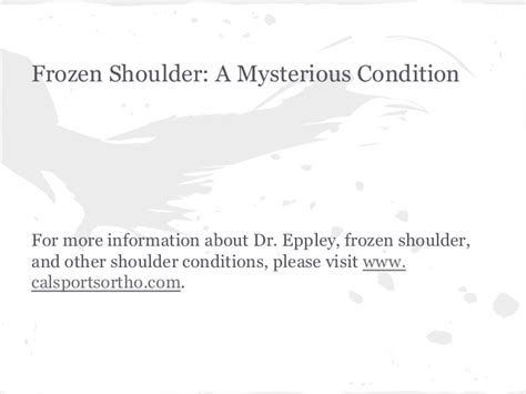 Whats Mysterious Condition by Frozen Shoulder A Mysterious Condition